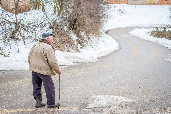 elderly in snow