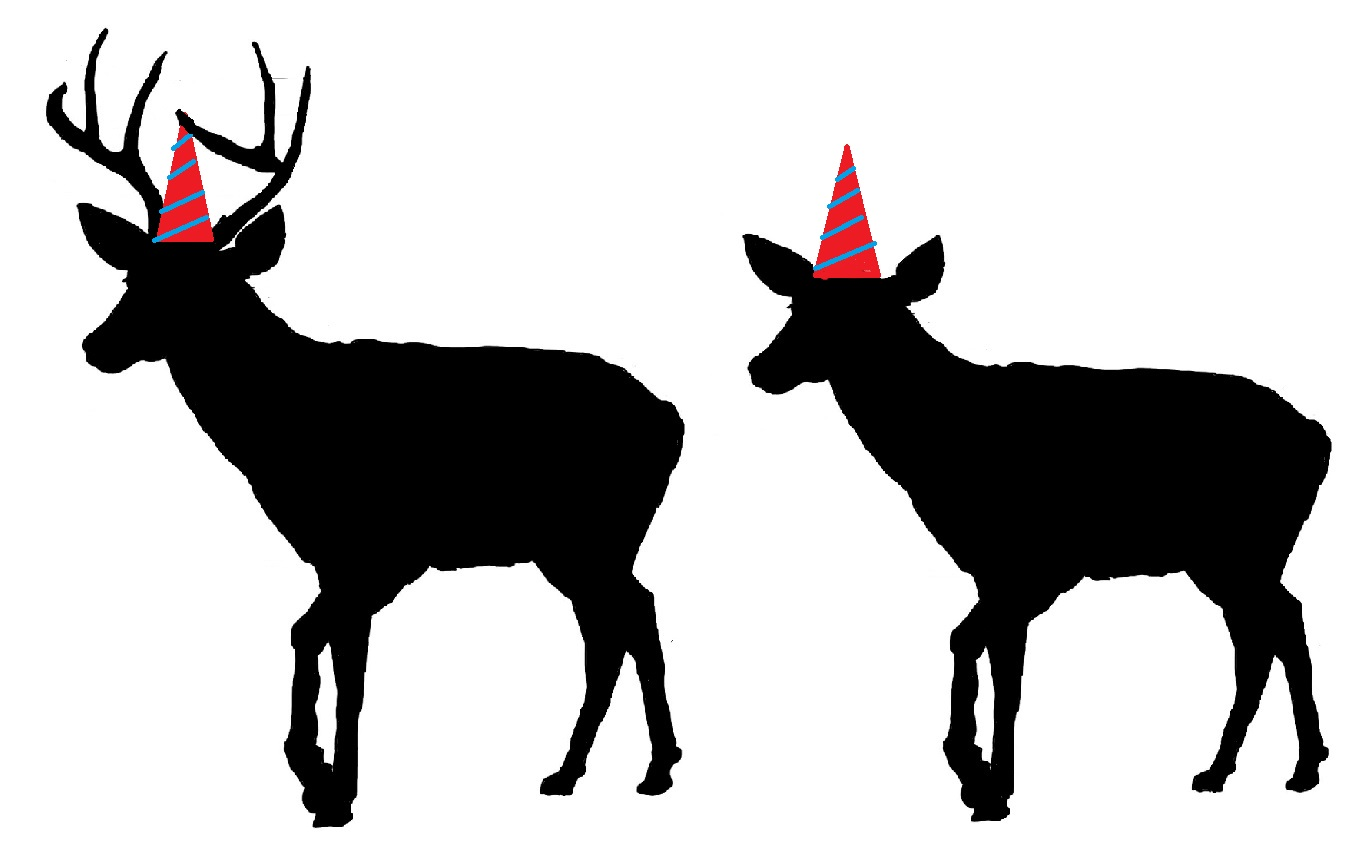 buck and doe drawing hats