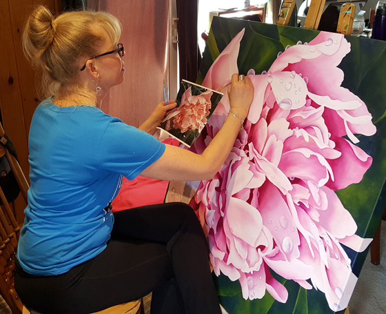 Kelly-painting-The-Peonie-kellymaw.com-The-Mat--The-Easel-paint-lessons-yoga-lessons